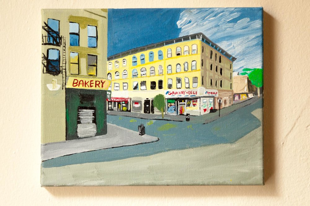 "Hart St. and Knickerbocker Ave, Acrylic on Canvas, 8""x10"", 2015"