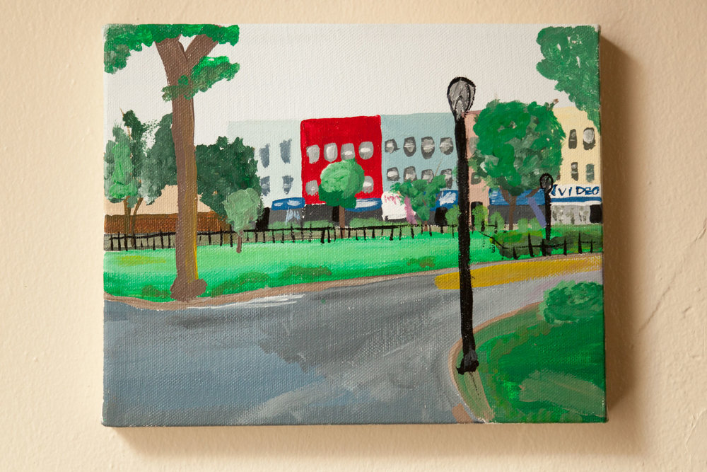 "Knickerbocker Ave from Maria Herñandez Park, Acrylic on Canvas, 8""x10"", 2015"