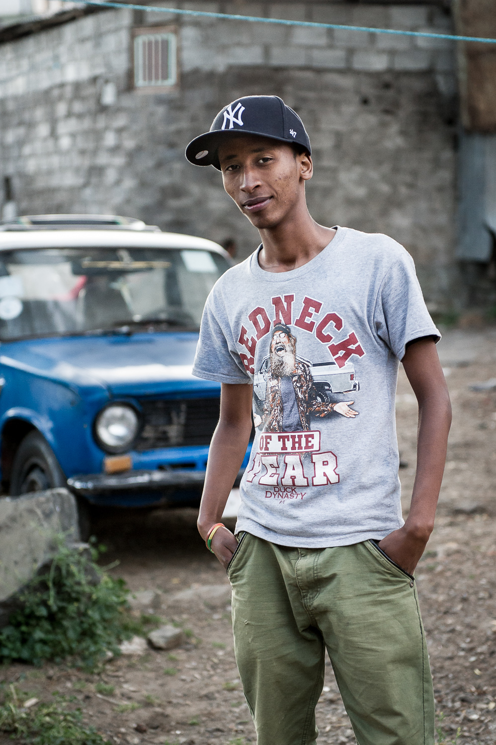 Micky in front of taxi, Ethiopia