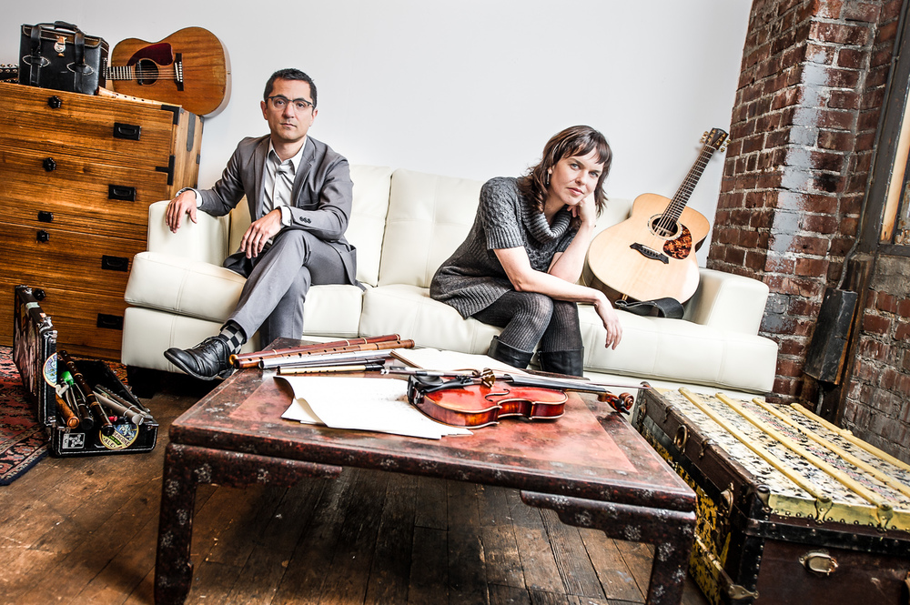 Hanz and Kathryn, musicians in their Portland studio