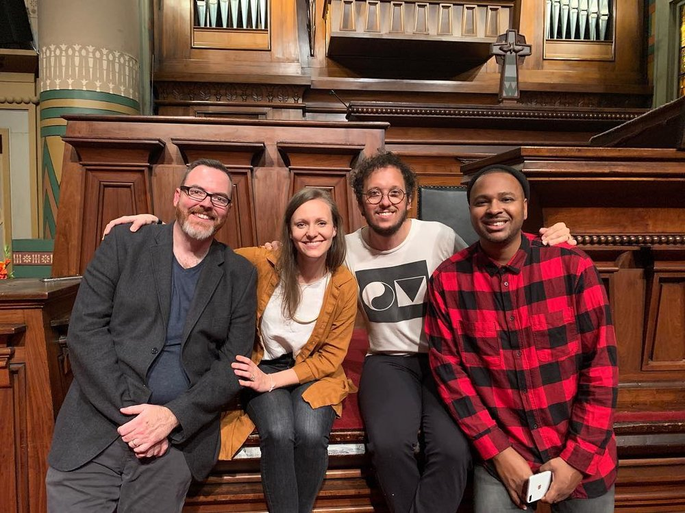 Science Mike, Hillary McBride, Michael Gungor, and William Matthews of The Liturgists Podcast