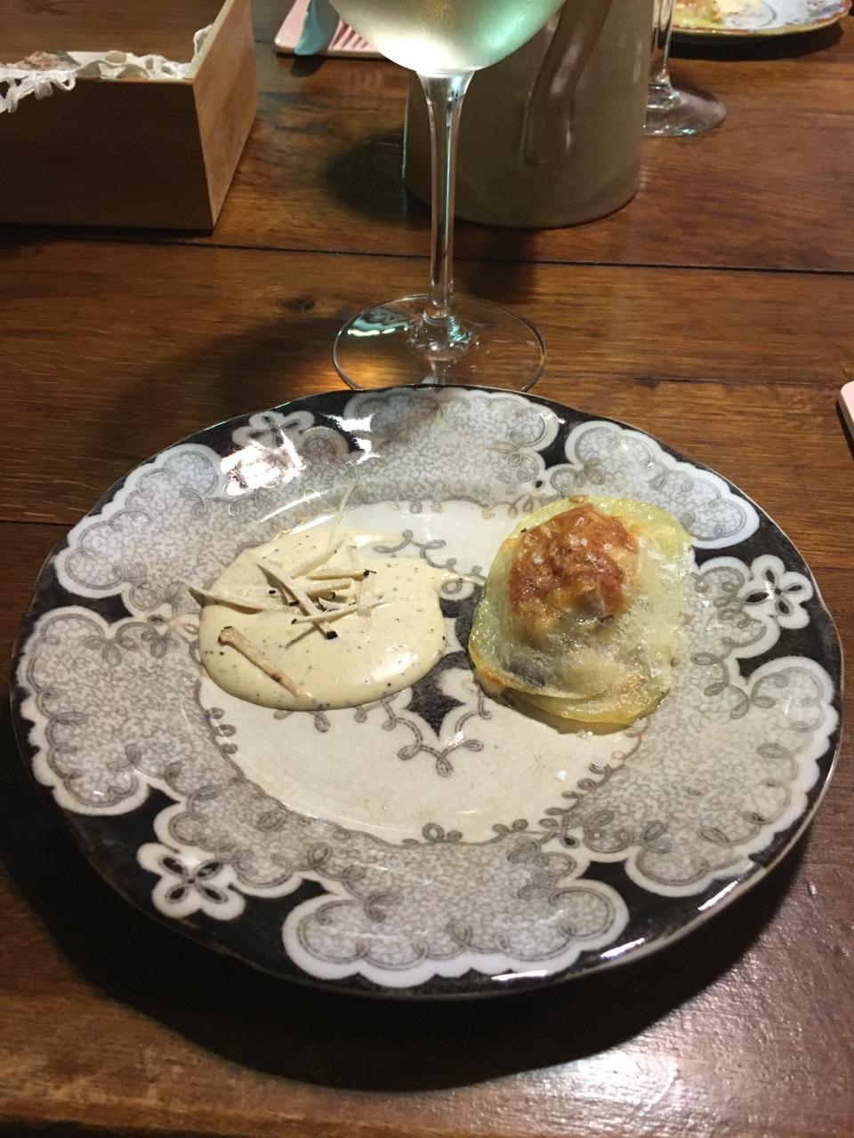 Potato ravioli Shitake mushroom filling First crop Truffle mayonnaise aioli