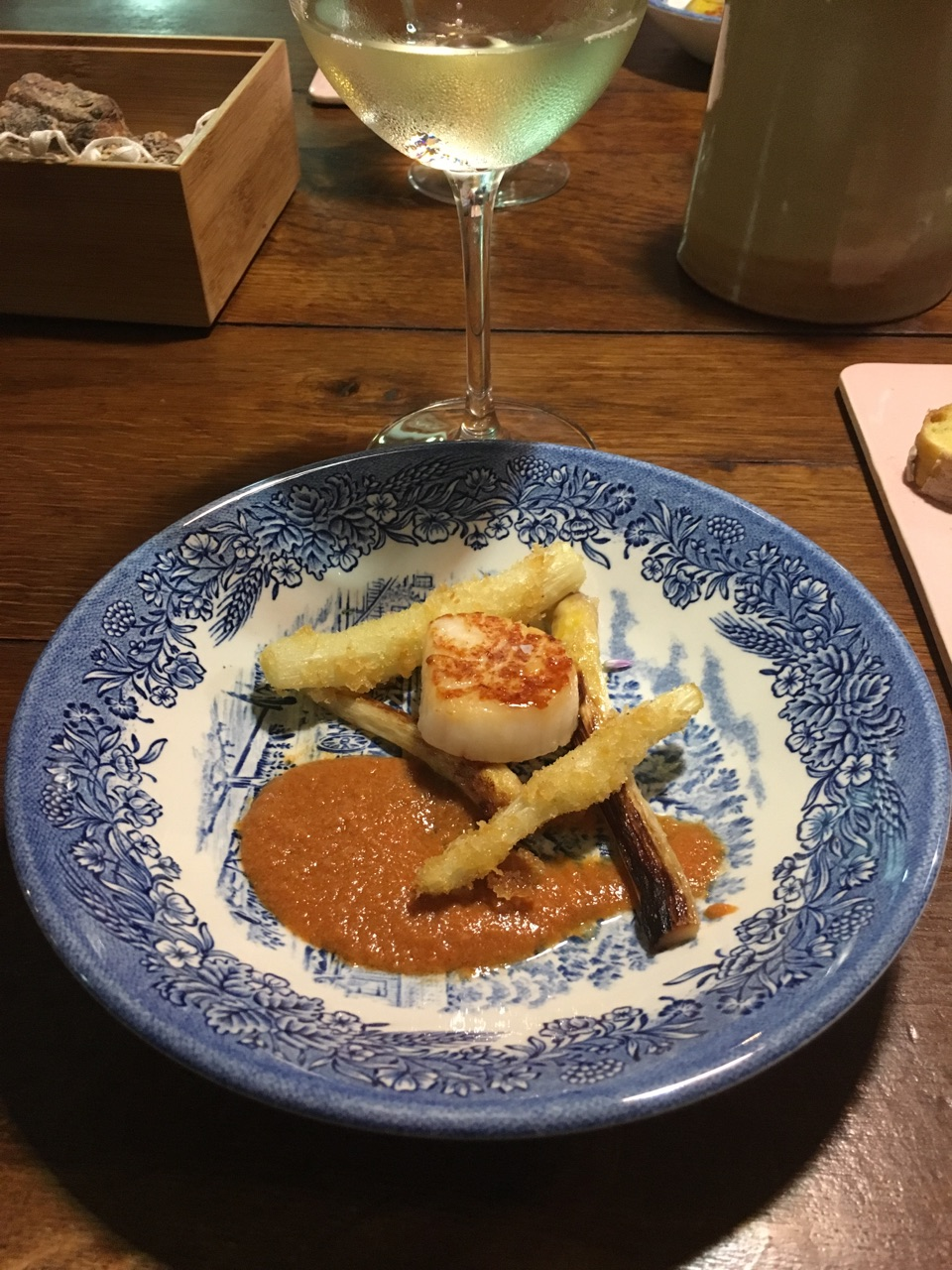 Pan seared scallop Pan fried white asparagus  Red prawn sauce