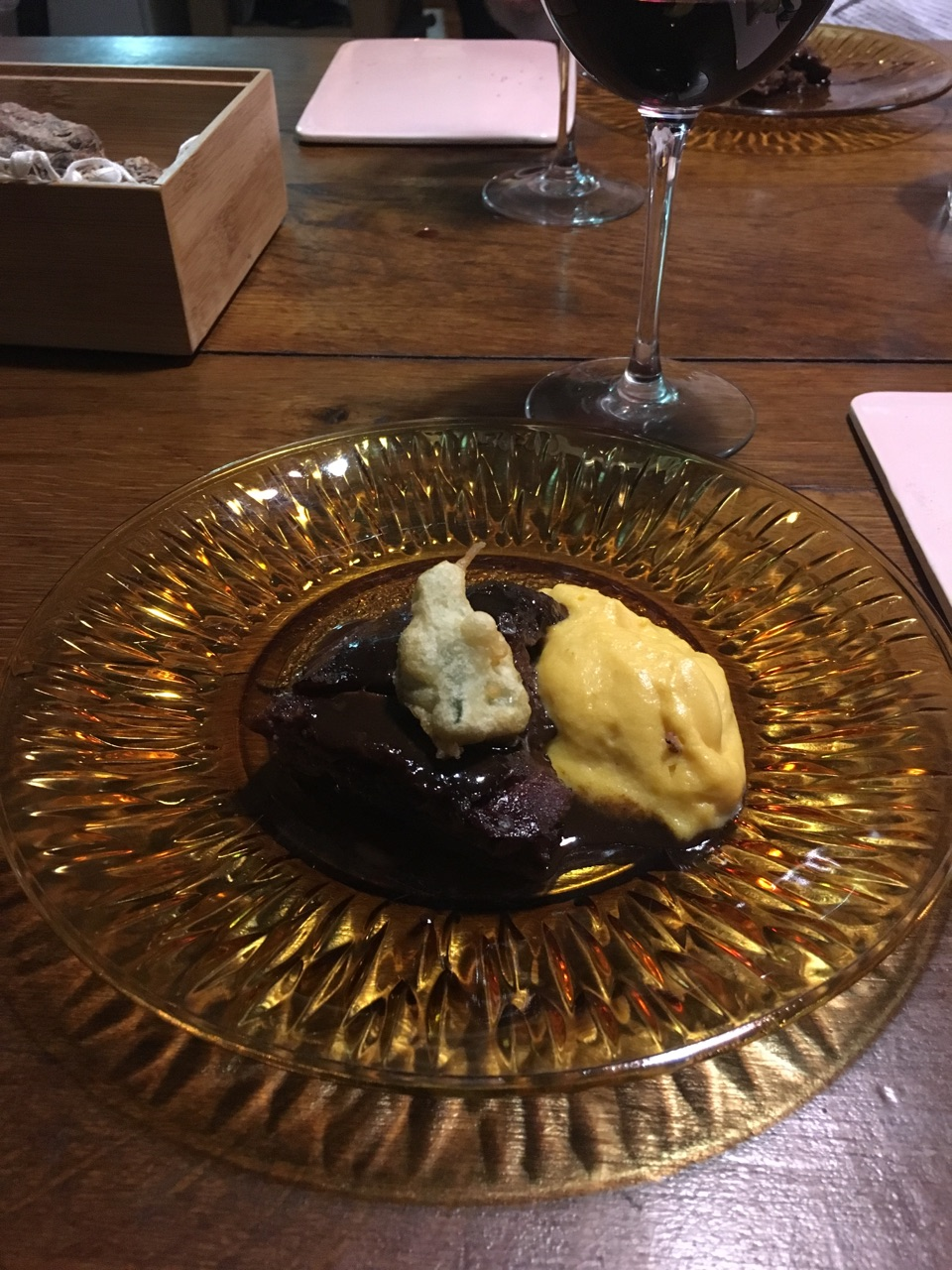 Beef cheek cooked for 56 hours at 70c Fois sweet potato Sage tempura