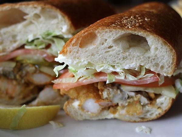 Oyster & Shrimp Po-Boy via Biteclubeats.com