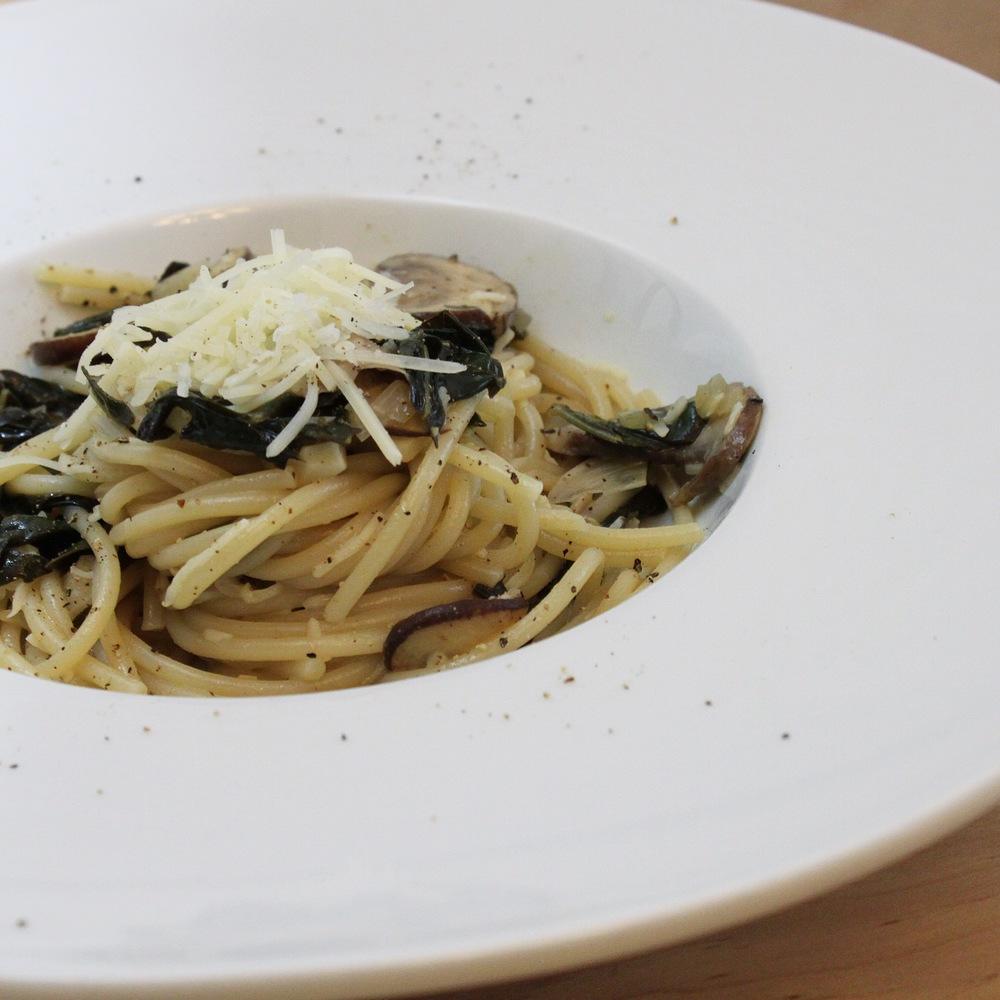 Kale Mushroom White Wine Pasta