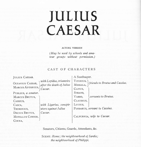 A complete ABRIDGED version of Shakespeare's Julius Caesar