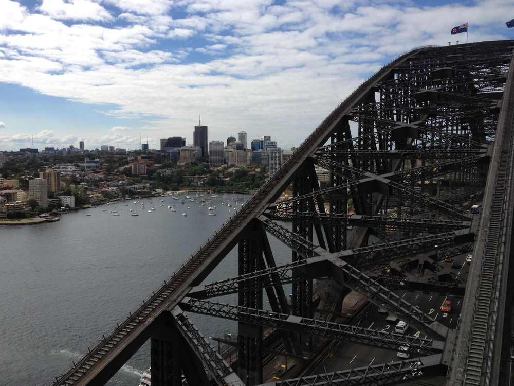 View from atop The Sydney Harbor Bridge
