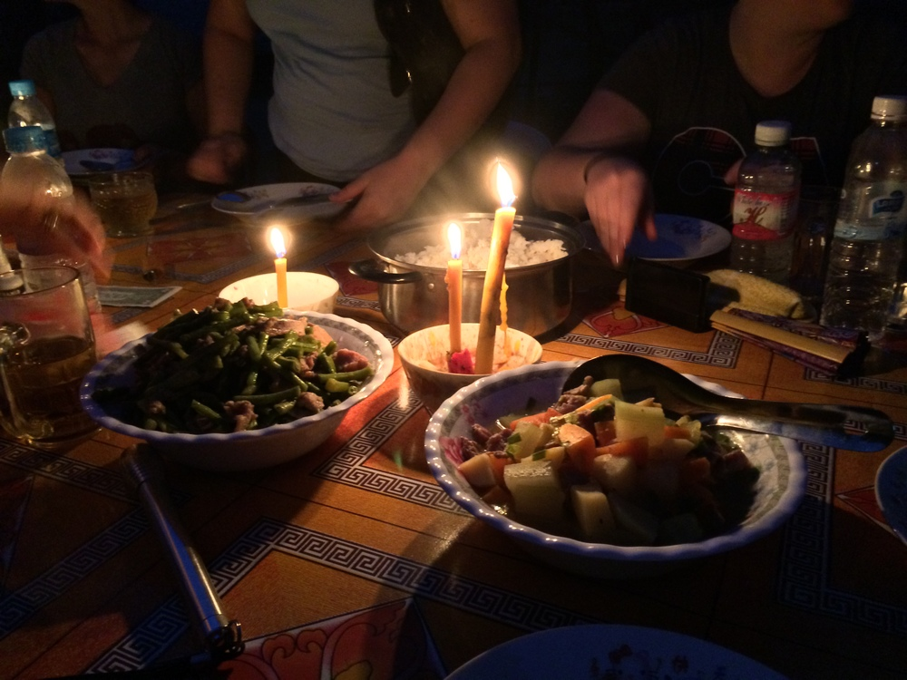 A candlelight dinner