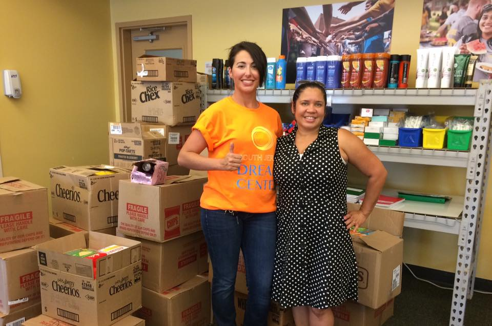 From left to right: Michelle DeSimone, South Jersey Dream Center Leadership Team, Michelle Santiago-Cruz,  Rowan University Food Pantry Coordinator