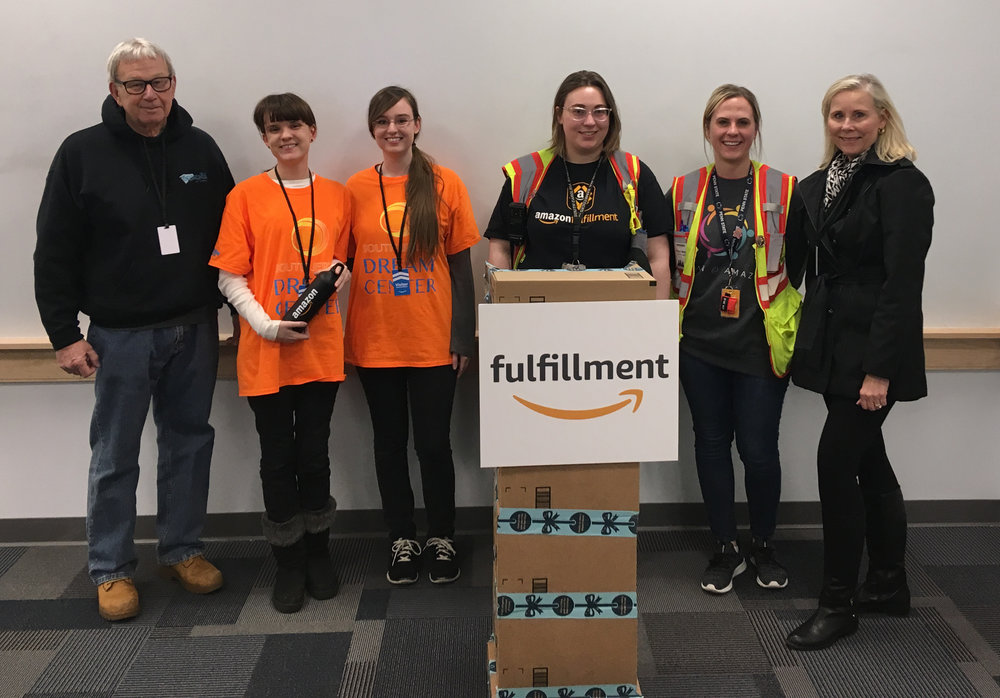 OUR NEW PARTNER: AMAZON  - March - Welcome West Deptford Amazon Fulfillment Center to our family of partners! We enjoyed the amazing tour of your over-the-top facility and our first pick up of donated items. Thank you Annie, Isaac and Taylor for your warm hospitality.