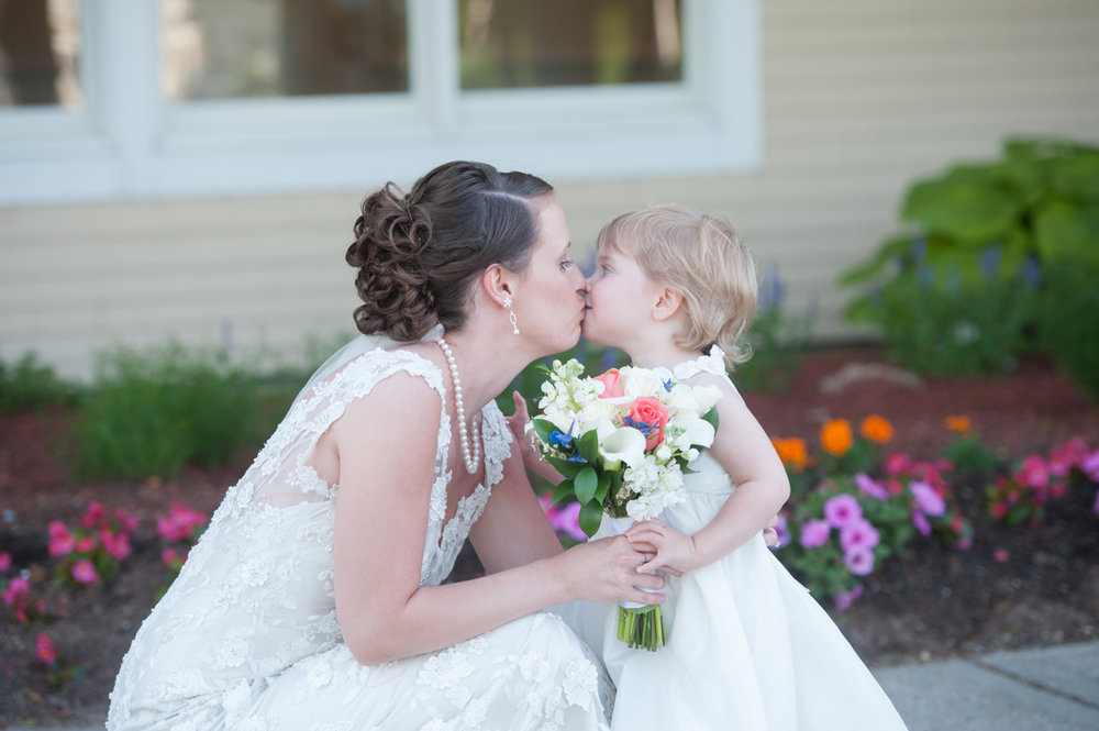 flower girl and bride at New Seabury Country Club Wedding
