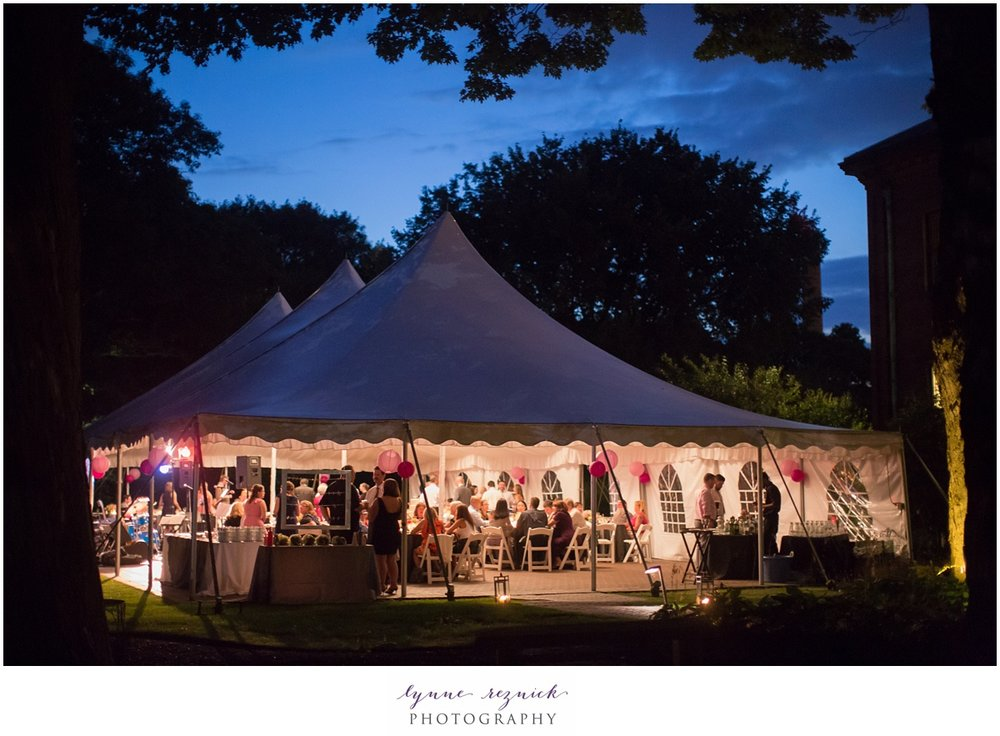 glowing tented reception at night in Watertown MA at the Commanders Mansion historic estate