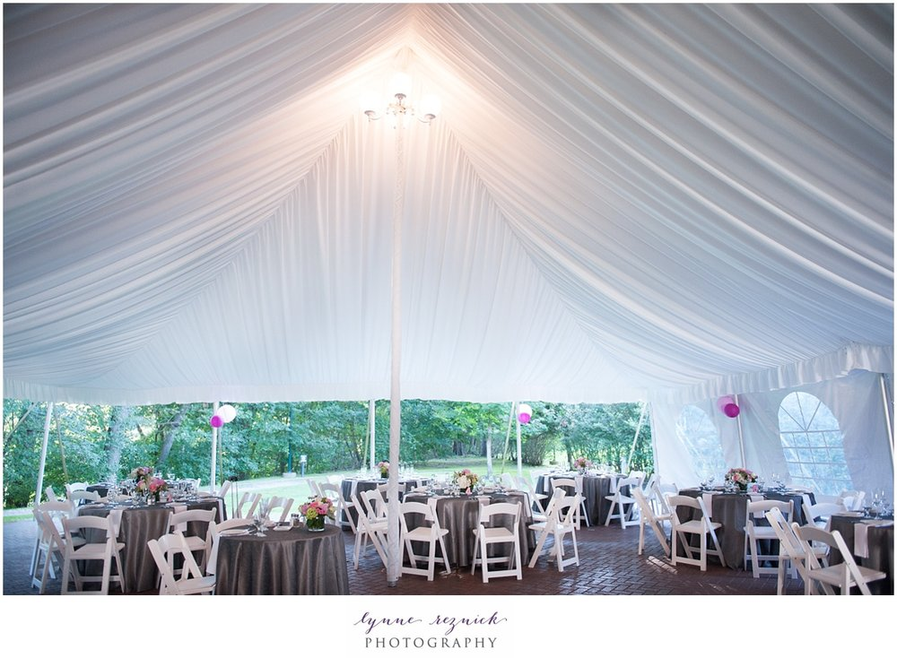 elegant draped tent for your wedding reception at the Commanders Mansion in Watertown