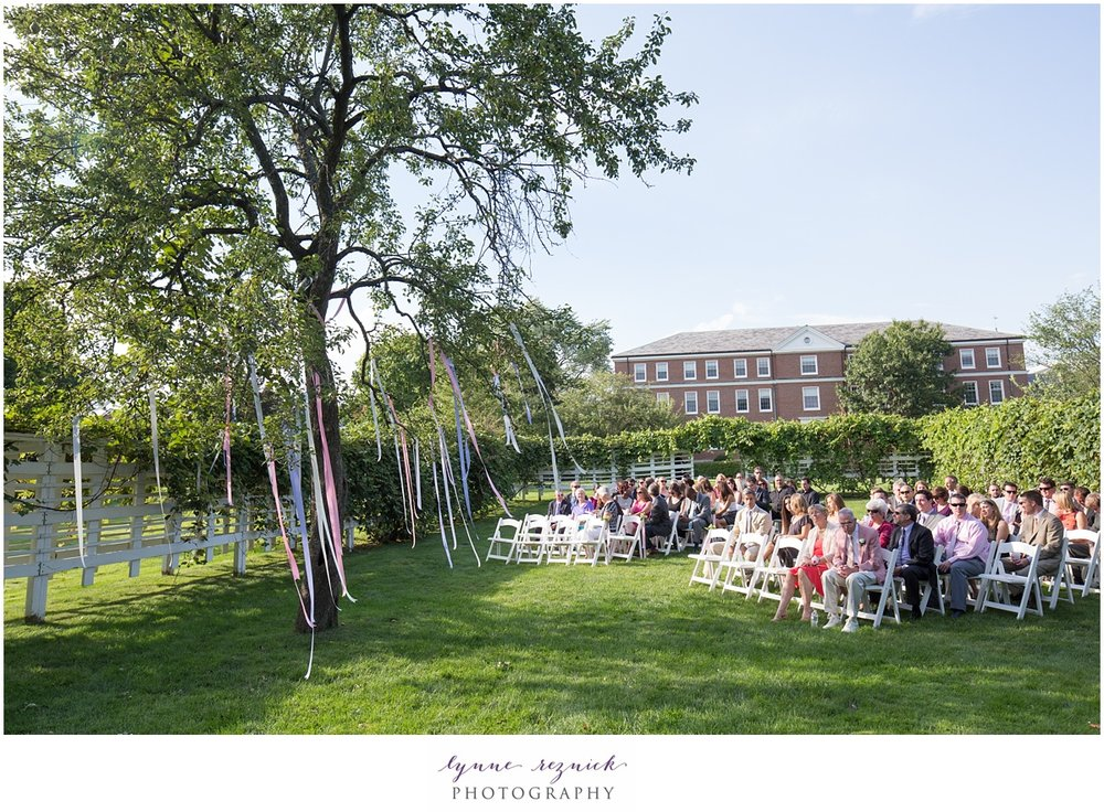 Commanders Mansion lawn is surrounded by arbors for wedding ceremony in Watertown MA