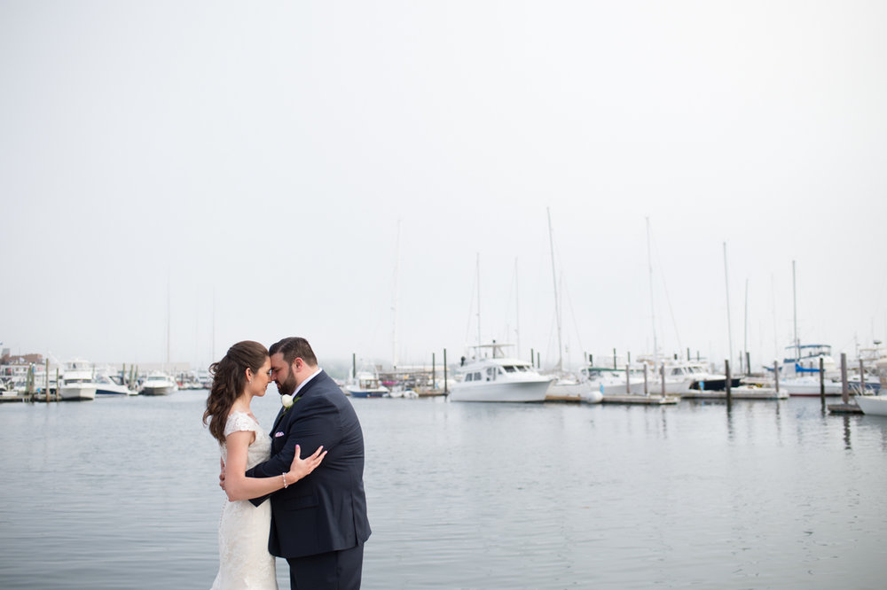 Newport Marriott wedding couples portraits overlooking Newport Harbor