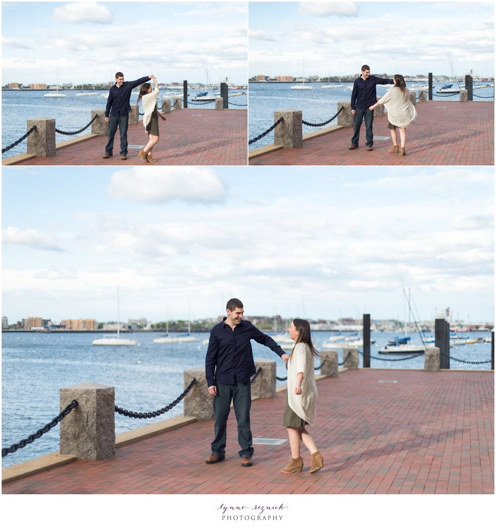 Views of Boston Harbor during engagement photos