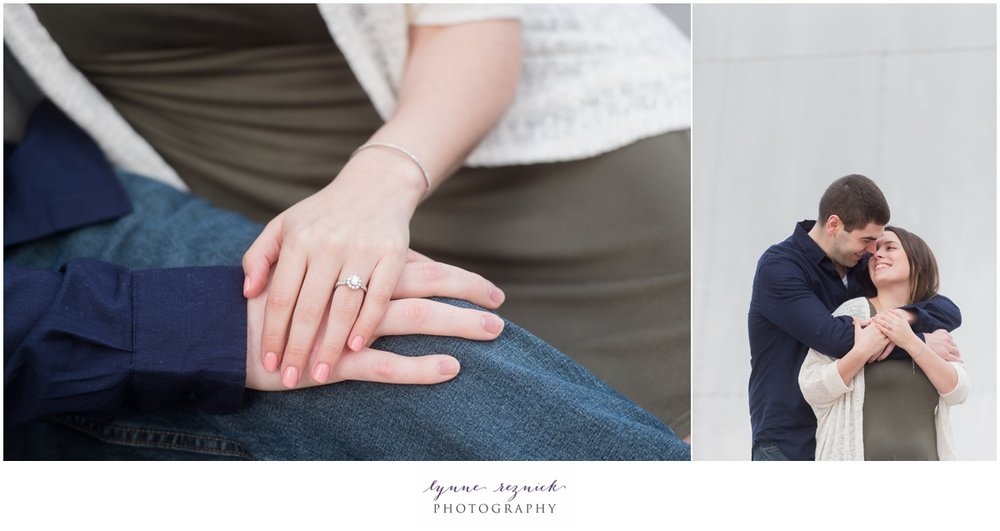 snuggling up tight in Boston for engagement portraits and engagement ring detail