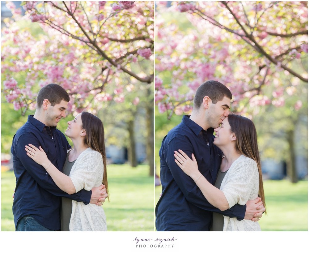 Christopher Columbus Park full of spring blooms and engagement portraits in Boston