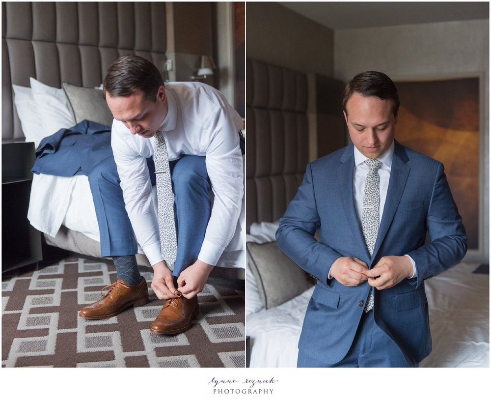 groom getting ready for CT shoreline tented wedding