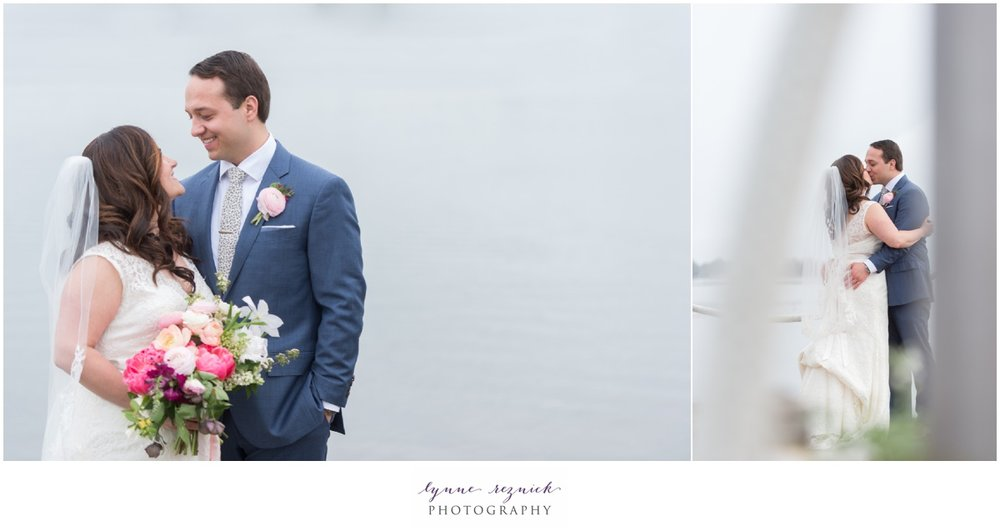 first look new england shoreline wedding