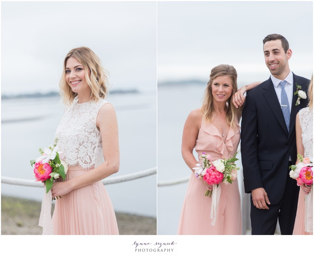 peach lace pink bridesmaid dress