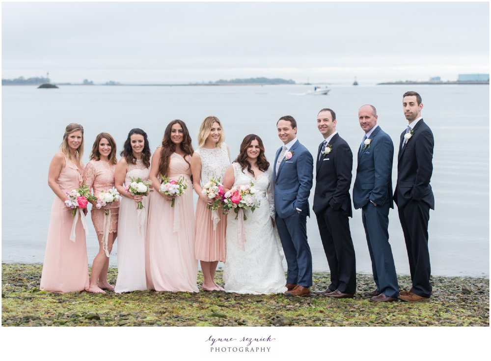 nautical shoreline pink and blue wedding party