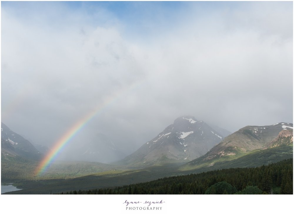 rainbow over Glacier National Park