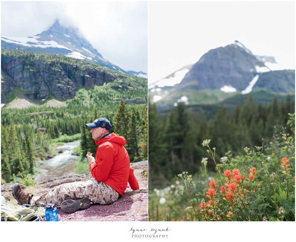 wildflowers and hikers in Glacier National Park