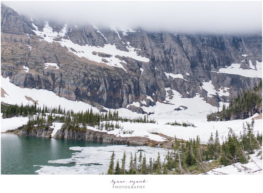Iceberg Lake in Glacier still frozen