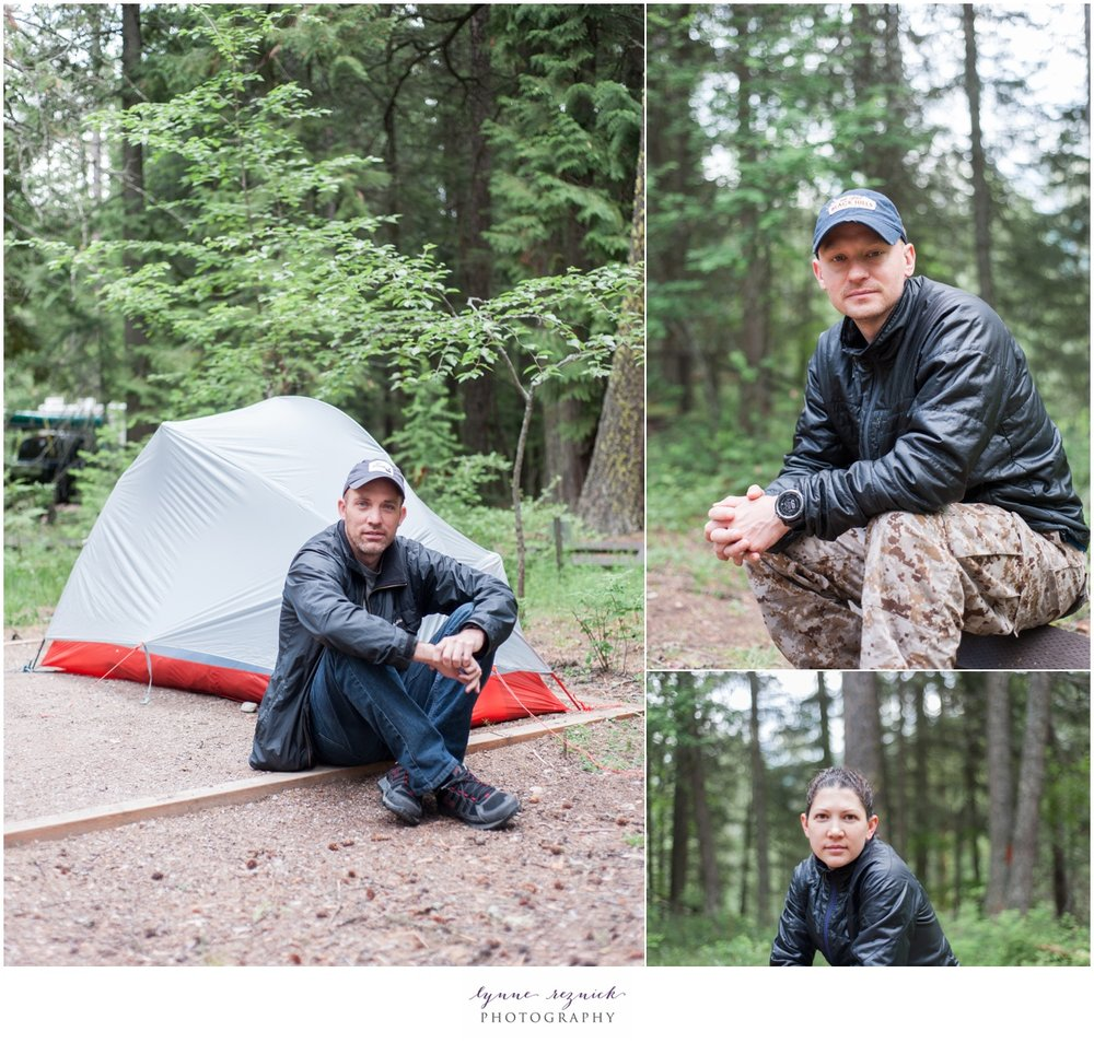 portraits of campers in Glacier National Park