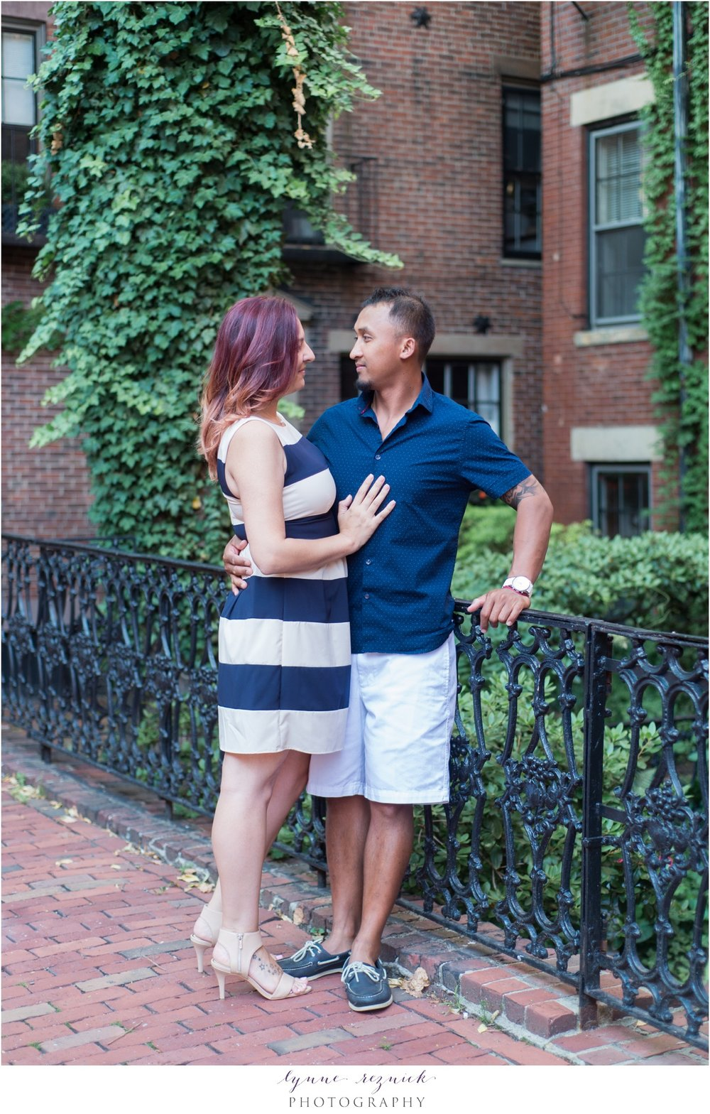 Summer engaged snuggles in Beacon Hill