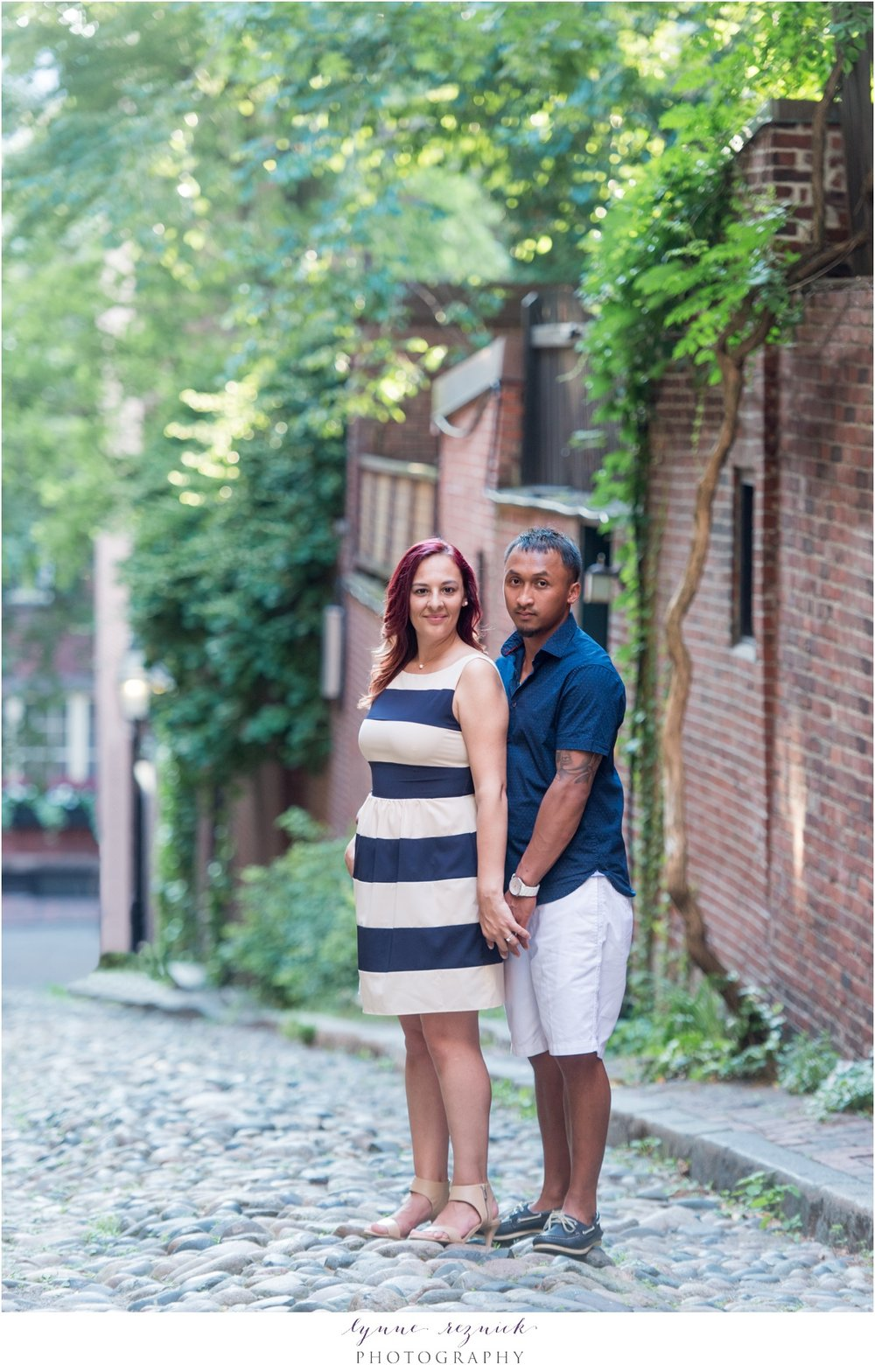 Acorn Street portraits for engaged couple