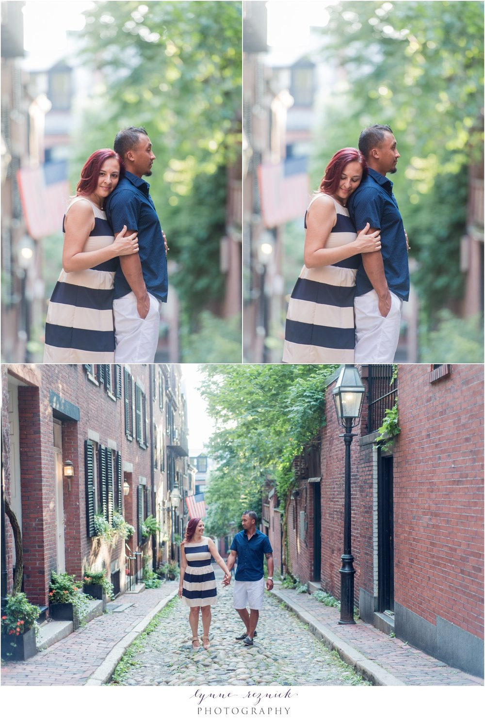 Acorn Street photos of Boston engaged couple in navy and white