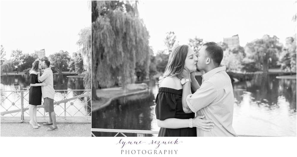 black and white engagement photos in Boston Public Garden at Boston Common