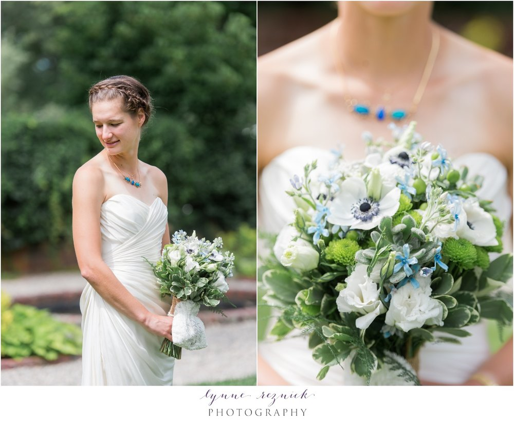 bridal portrait and bouquet for summer wedding at the Bradley Estate in Canton, MA
