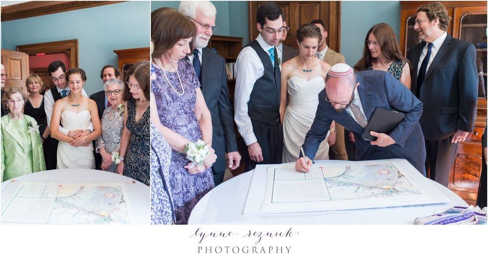 ketubah signing at summer wedding at the bradley estate