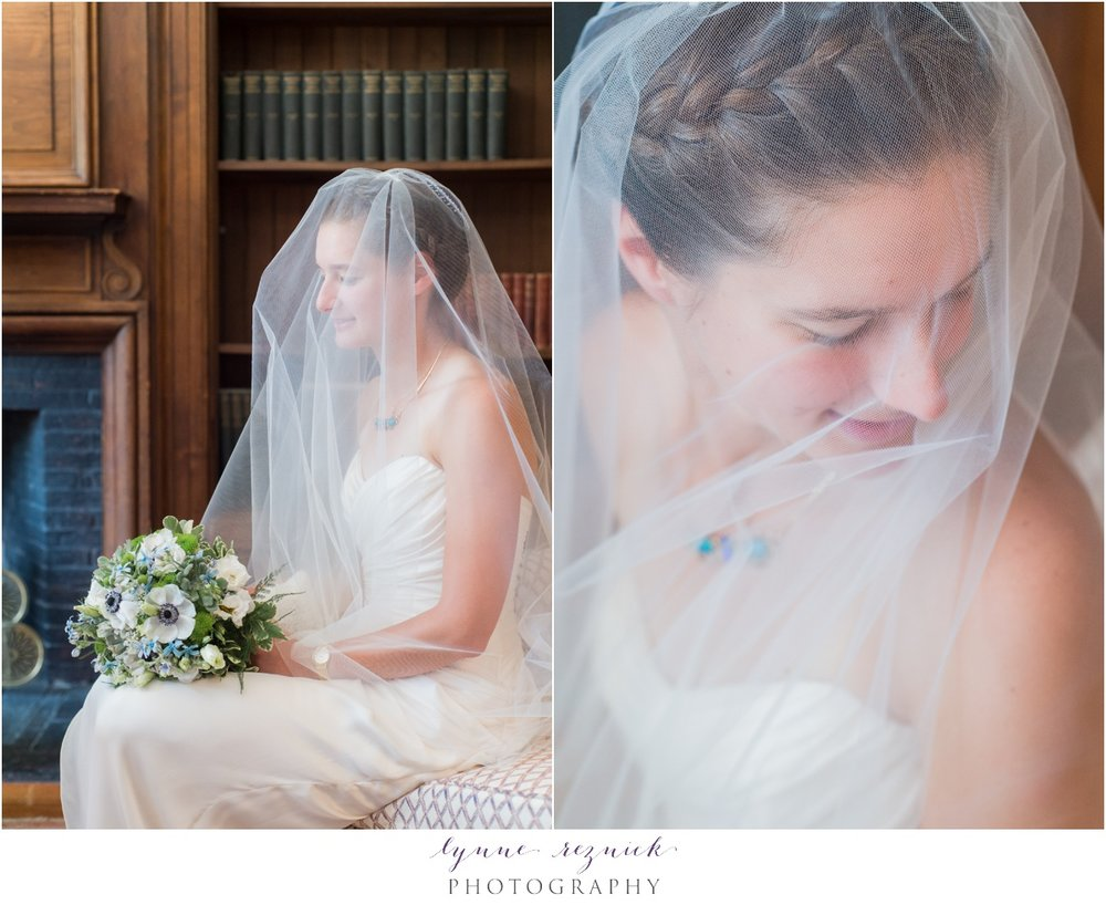 bridal portraits inside the study at the Bradley Estate