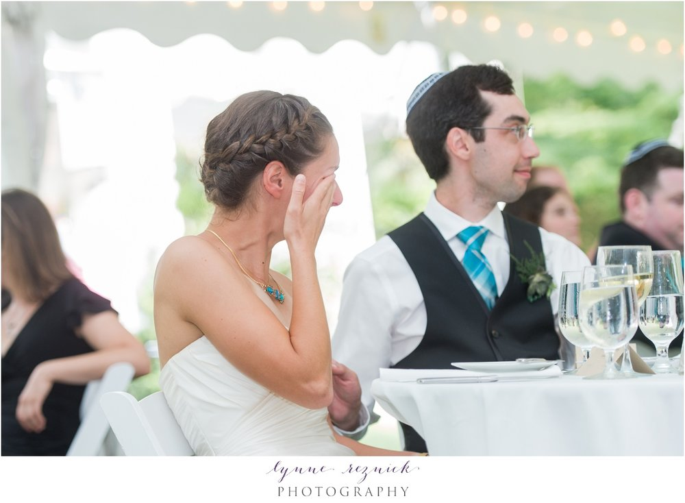 happy tears from the bride at this summer estate wedding