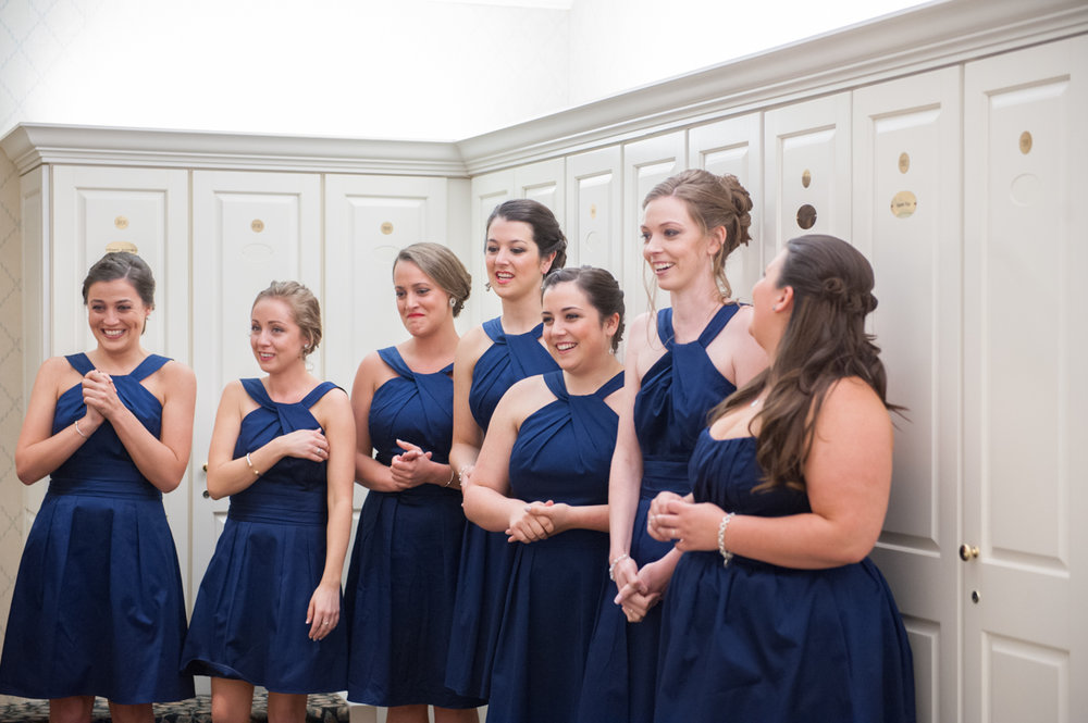 New Seabury Country Club Wedding Bridesmaids see bride in bridal suite