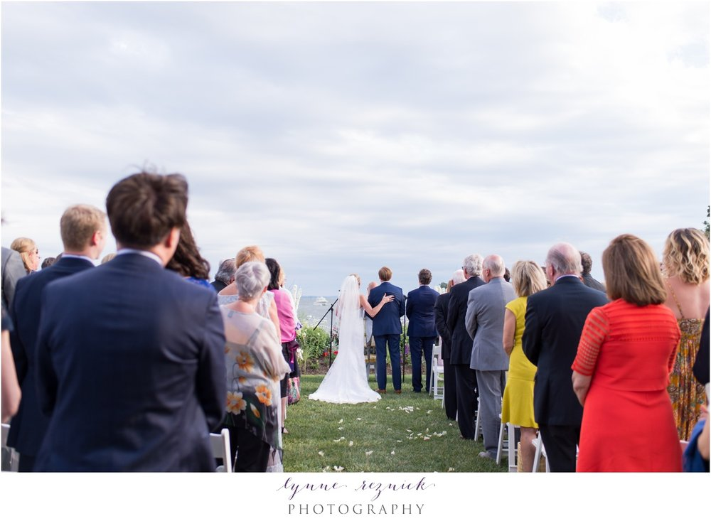 bride and dad share moment during lawn ceremony at belle haven club wedding