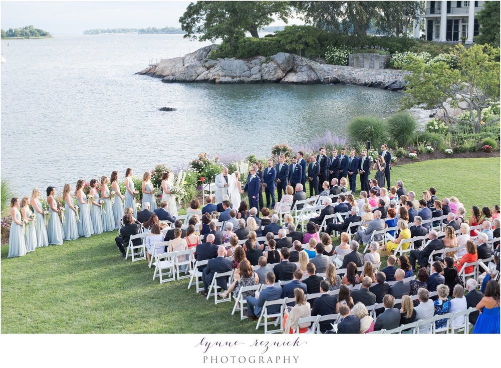 birds eye view of the chic wedding ceremony on the water at belle haven club in greenwich, CT