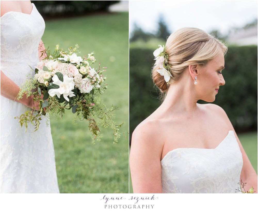 stunning elegant chic bridal bouquet and hair piece