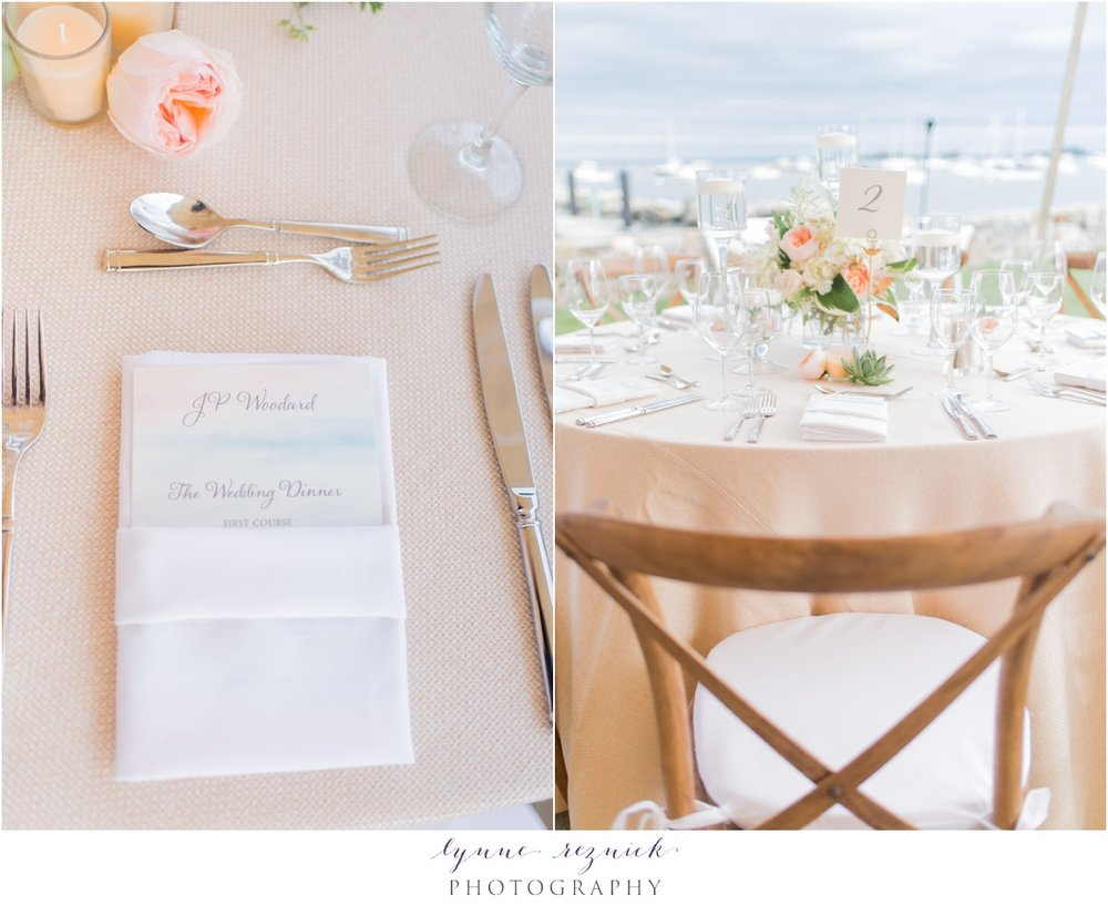 personalized menu cards and floral centerpieces at belle haven club designed by stella day events