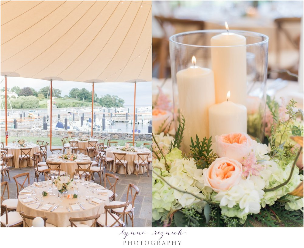 sail cloth tent and peach florals for belle haven chic nautical wedding