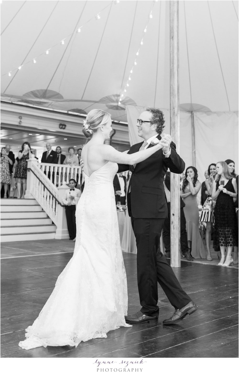 black and white first dance under sail cloth tent