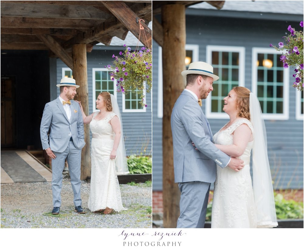 bride and groom reveal during rainy first look in Killington VT