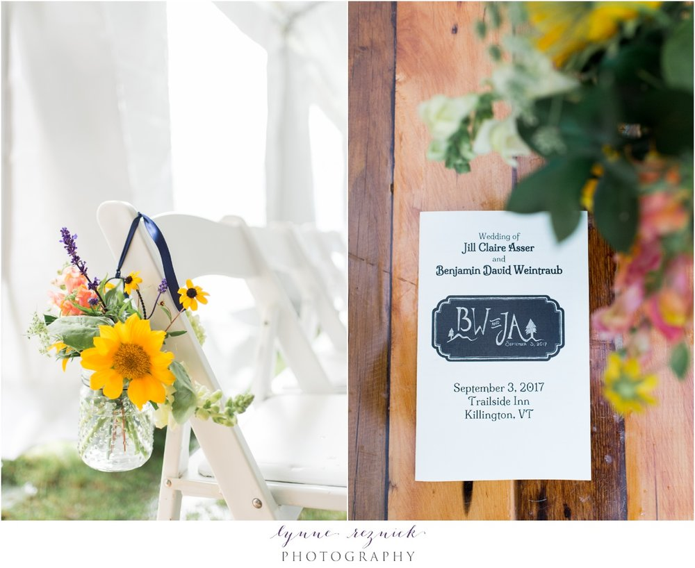 mason jar ceremony flowers sunflowers rustic decor