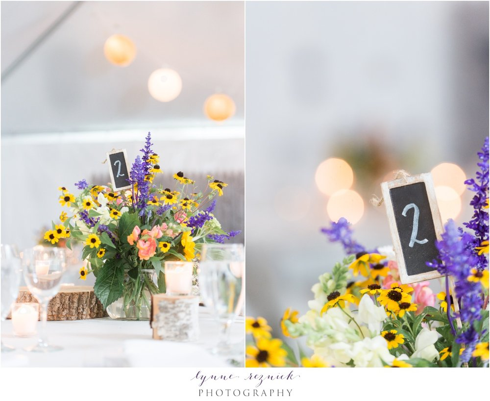 rustic flower centerpieces at killington vt wedding by Pittsfield Garden Center