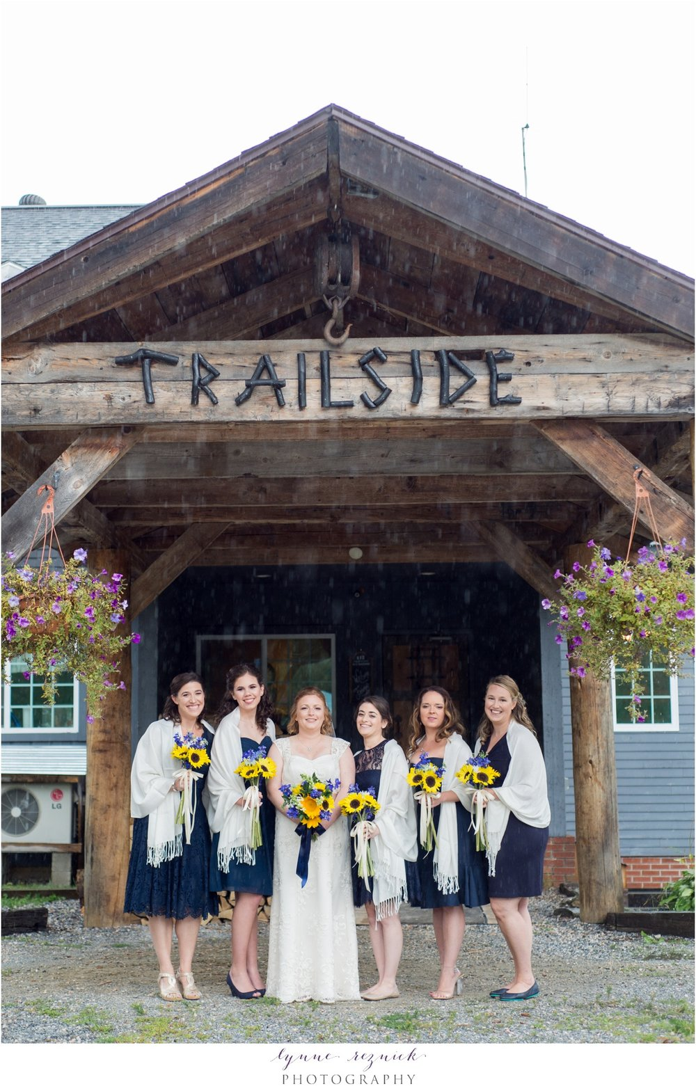 bridesmaids at trailside inn rustic wedding